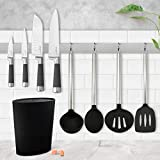 Set de Tacoma universal lavable, gran capacidad + Juego de 4 cuchillos San Ignacio Premium: Chef, Santoku, Multiusos y Pelador + 4 utensilios de cocina