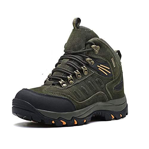 Winter Leder Baumwolle Schuhe, plus Samt warm zu halten, High-Top-Outdoor-Freizeitschuh, Wandern, Anti-Ski-Schuhe,Army green,39
