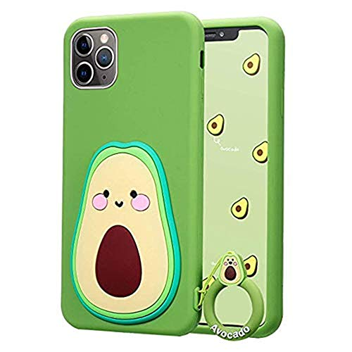 iPhone 11 Case Cute iPhone 11 Case, iPhone 11 Cute Case 3D Cartoon Fruit Food Avocado Shaped Soft Silicone iPhone 11 Case for Women Teen Girls Rubber Cover Cute Phone Cases iPhone 11-6.1' (Blue)