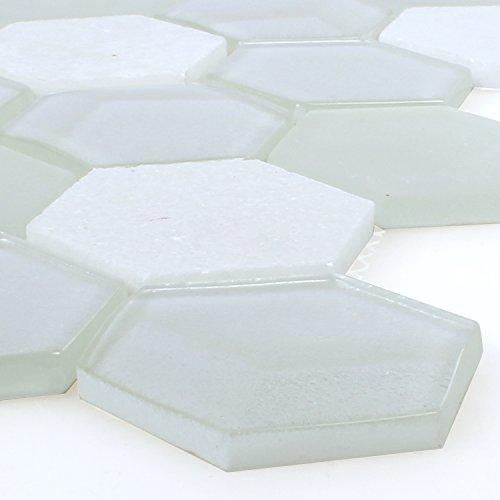 Glas Naturstein Mosaik Fliesen Hexagon Weiss 3D Sechseck