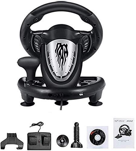MHSHYSQ Volante del Juego, De 180 Grados Universal USB del Ordenador, Vibración, Compite con La Bici Y Pedalear, Juego De Carreras Simulador, para Xbox 360 Ps2 Ps3 P