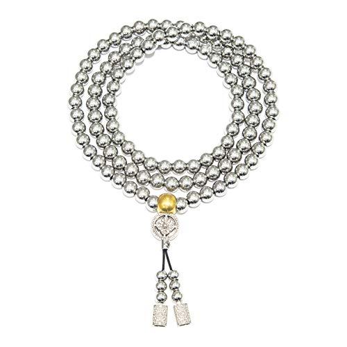 Chimok Mens Stainless Steel Chain Necklace Bracelet,Self Defense Chain for Man,Buddhist 108 Mala Beads 10mm Bracelet,Buddha Beads Necklace, Destiny Nepal Prayer Beads(Model B)