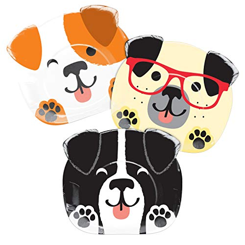 """Creative Converting SHAPED PLATE 9"""" ASSORTED DOGS, 0.5x8.75x7.7inc, Multicolor"""