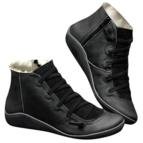 Fenverk 2019 Neue Frauen Casual Arch Support Stiefel Stiefeletten Damen Flache Slip-On Bequeme Booties Side ReißVerschluss Schuhe Anti-Vintage SchnüRschuhe Fersenstiefel Kurzer Boot(Schwarz,41 EU)