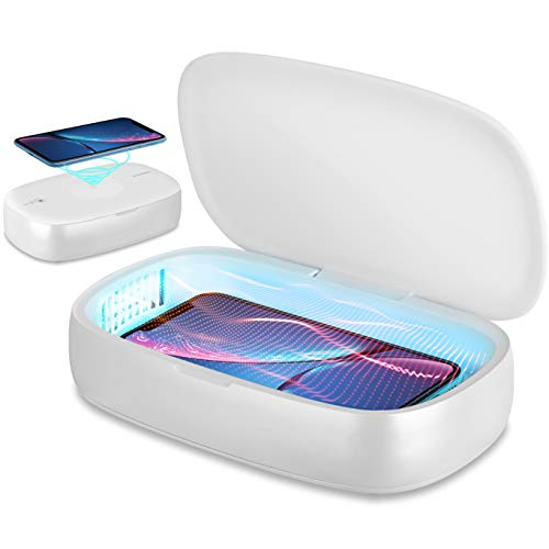 UV Phone Sanitizer Wireless Charger Cell Phone Cleaner UV Light Sterilizer Smartphone Charging...