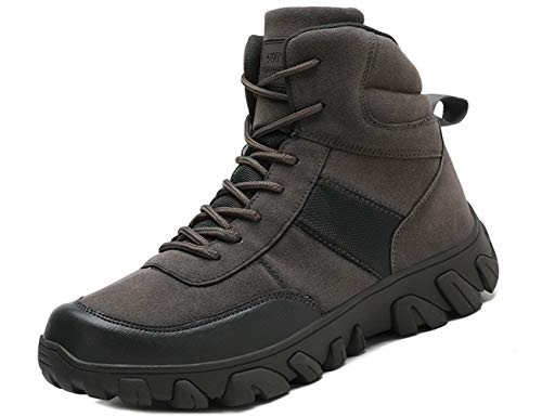IYVW A02 Botas de Combate del Ejército Militar Senderismo Hombre Zapatos para Caminar Seguridad en el Trabajo del Tobillo Botas Calzado de protección Forestal Escalada Viajes Gris 46 EU