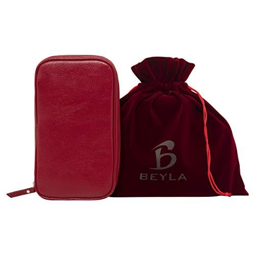 Beyla Red Vegan Leather Travel Jewelry Organizer with Velvet Drawstring Pouch