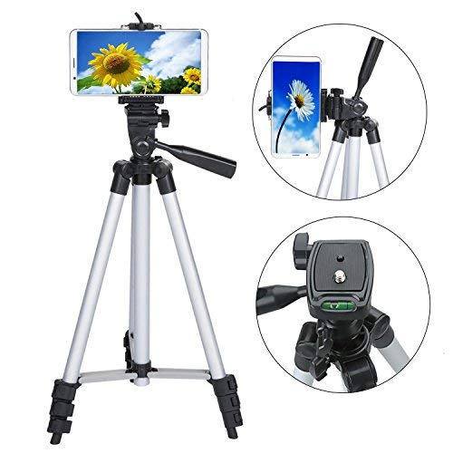 50 Inch Phone Tripod, Aluminum Camera Tripod for iPhone with Universal Tripod Phone Mount, Carrying Bag Included