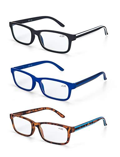 LANLANG Blaulichtfilter Brille 3er Pack Lesebrille 3,5 für herren Anti-Blaulicht Brille Anti Augenbelastung 3 Farben einschließlich 0-3,5 Dioptrien