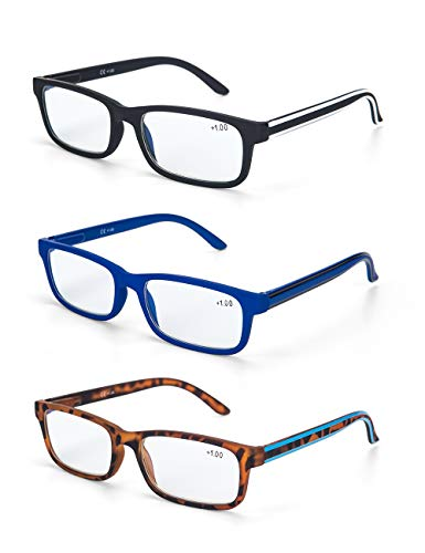 LANLANG Blaulichtfilter Brille 3er Pack Lesebrille 1,5 für herren Anti-Blaulicht Brille Anti Augenbelastung 3 Farben einschließlich 0-3,5 Dioptrien