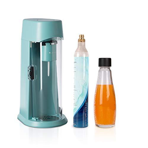 LEVIVO Machine à Soda JUS, gazéifie les jus, les boissons gazeuses et toutes les boissons de votre choix, avec Cylindre de CO2 et Bouteille en Verre de 0.6L, turquoise