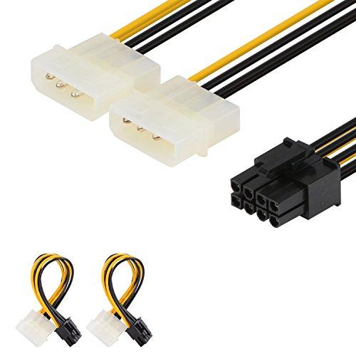J&D 2er Pack 8 Pin PCIe auf 2x 4 Pin LP4 Molex Stromkabel Adapter - 15cm, Schwarz