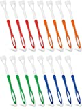 16 Pieces Three Bristle Travel Toothbrush 3 Sided Autism Toothbrush for Complete Teeth and Gum-Care, Great Angle Bristles Clean Each Tooth, Soft/Gentle (Green, Blue, Yellow, Red)