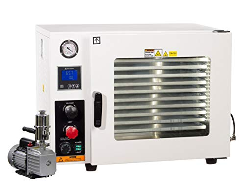 Across International AT19P7 Stainless Steel 5-Sided 1.9 cu. ft. Vacuum Oven with Tubing/Valves, Oil-Filled Gauge, LED Light and 7 cfm Compact Vacuum Pump
