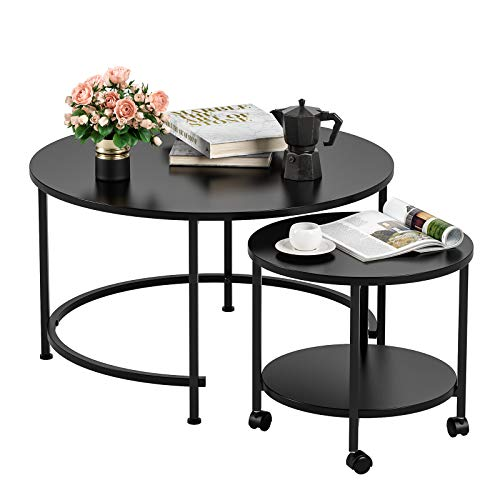 Homfa Nesting Coffee Table with Casters, Modern End Table Round Side Table Waterproof Tabletop Metal Frame Easy Assembly for Living Room Bedroom Balcony, (Black, Set of 2)