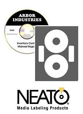 Neato CD/DVD Economatte Labels – 50 Sheets – Makes 100 Labels - Online Design Label Studio Included - Adhesive Made Specifically For CDs & DVDs
