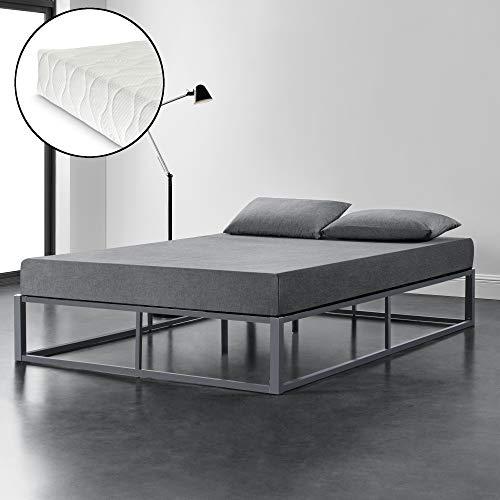 [en.casa] Metallbett mit Matratze 180x200cm Dunkelgrau auf Stahlrahmen mit Lattenrost Bettgestell Design Doppelbett Ehebett Schlafzimmer