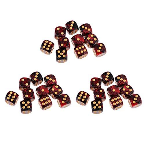 sharprepublic Juego De Dados De Juego De rol De Resina D6 De 16 Lados Cuadrados Translúcidos De 20 Piezas - 30pcs Rojo + Negro