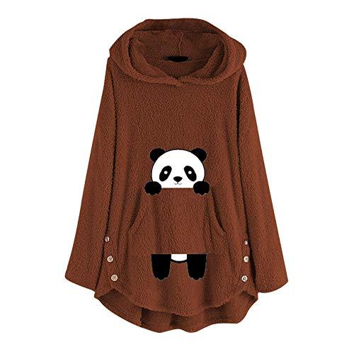 Chaquetas de plumón para mujer de lana informal con diseño de panda bordado, tamaño grande, con capucha, bolsillo
