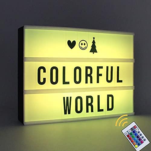 A4 Cinema Light Box 16 Farben wechselnde Light Up Box LED Light Box mit 159 Buchstaben & Emojis Batterie oder USB Powered Lightbox mit Fernbedienung Light Box Sign für Hochzeit, Geburtstag, Party