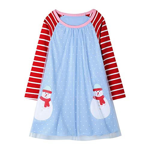 Little Girl Casual Jersey Dress Snow Man Tulle Cotton Long Sleeve Christmas Birthday Party Dress Pink