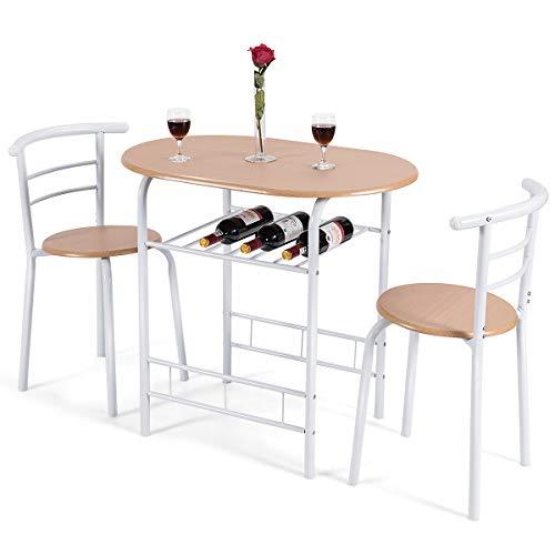 DREAMADE 3tlg. Essgruppe, Holz Esszimmer Set, Esstisch mit 2 Stühlen, Esszimmer Tisch Esszimmergruppe für 2 Personen zum Essen Trinken Lernen, ideal für Küche, Garten, Cafeteria, Bar (Weiß)