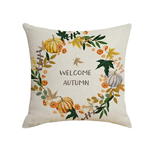 Pumpkin Wreath Pattern Pillow Cases Linen Pillow Covers Cushion Protectors Home Decorations without Pillow Core Unisex