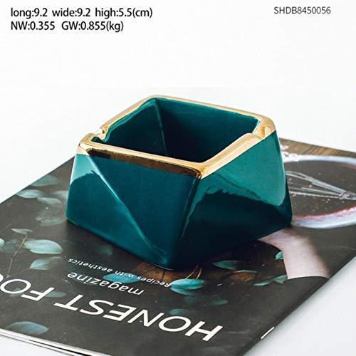 Cenicero creativo femenino de cerámica cenicero resistente a las caídas, soporte para cenicero portátil para el hogar, soporte para cigarrillos de oficina hexagonal, longitud 9,2 cm