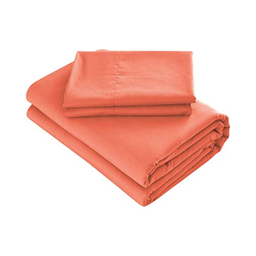 Prime Bedding Bed Sheets - 4 Piece Full Size Sheets, Deep Pocket Fitted Sheet, Flat Sheet, Pillow Cases - Bright Coral