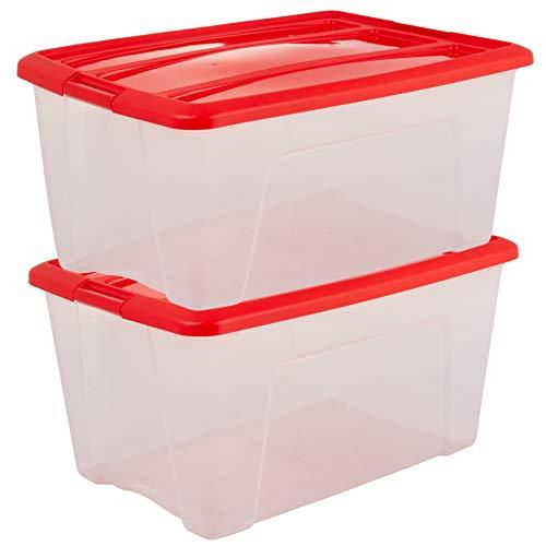 Iris Ohyama New Top Box NTB- 45 edition X- Mas -  lote de 2 cajas apilables de almacenamiento,  Transparente/Roja,  45 L