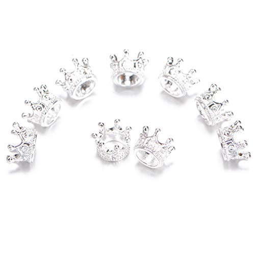 AD Beads 20 Pieces Solid Metal King & Queen Crown Big Hole Bracelet Connector Charm Beads ( Queen Crown (Silver))