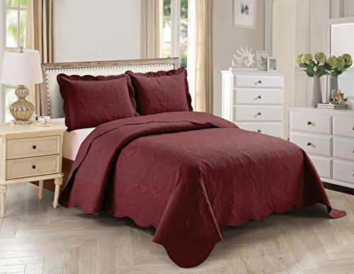 Better Home Style 3 Piece Luxury Floral Ultrasonic Embossed Solid Color Quilt Coverlet Bedspread Oversized Bed Cover Set # Stacy (Burgundy, Full / Queen)