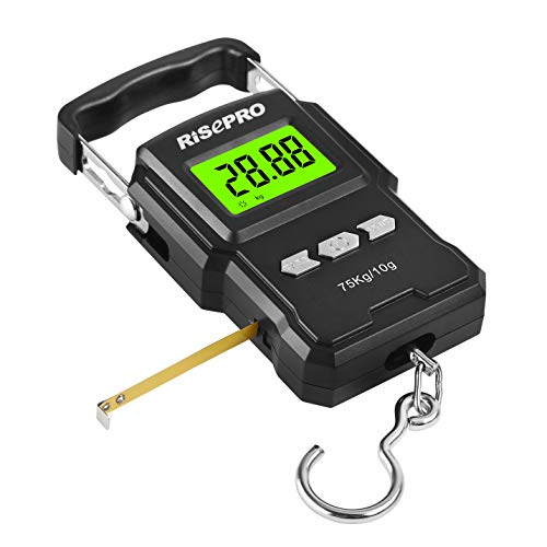 RISEPRO 75Kg / 165Ib Digital Fish Scale 1 Meter 39' with Ruler Fishing Postal Hanging Luggage Baggage