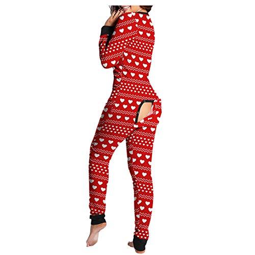 Dasongff Jumpsuit Damen Sexy Schlank Strampler Schlafanzug Einteiler Onesie Pyjama Langarm Funktionale Geknöpfte Klappe Beiläufig Erwachsene Frauen Overall Nachtwäsche Hausanzug