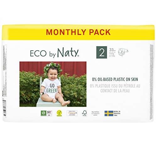 Eco by Naty, Taglia 2, 132 pannolini, 3-6kg, fornitura di UN MESE, Pannolino eco premium a base vegetale con lo 0% di plastica sulla pelle