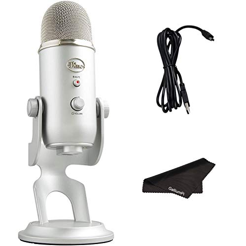 Newest Blue Yeti USB Microphone with 4 Pickup Patterns, 3 Condenser Capsules, Mic Gain Control & Adjustable Stand for Gaming, Streaming, Podcasting on PC & Mac with GalliumPi Accessories - Silver