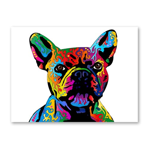 Diamond Painting Kits for Adults,Colorful French Bulldog,DIY 5D Round Full Drill Painting Cross Stitch Crystal Rhinestone Embroidery Arts Craft
