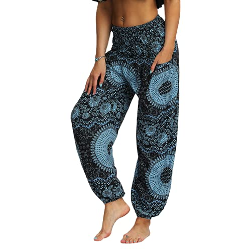 QTJY Pantalones Sueltos Bohemios de Moda Pantalones Hippie Casuales para Mujer Pantalones Harem de Aladdin Pantalones de Yoga de Cintura Alta fluidos D S