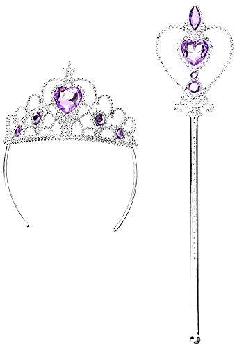 Corona e Bacchetta per Bambine - Principessa - Regina - Pietre colorate - Accessori Travestimenti per bambini - Carnevale - Cosplay - Halloween - Idea regalo originale - Viola