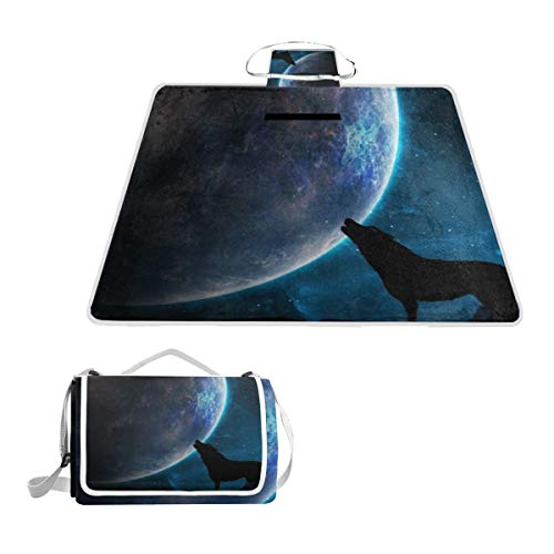 XINGAKA Picnic Blanket,Wolf Galaxy Moon Howling Silhouette Surrealist,Large Beach Blanket Outdoor Camping,Waterproof Backing,Foldable