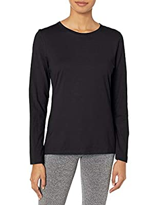 Hanes Women's Long Sleeve Tee, Ebony, Medium