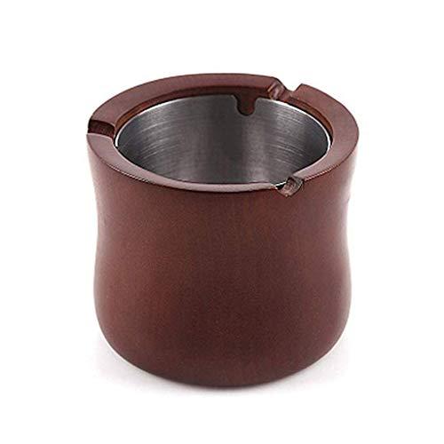 ZXL asbak ronde winddicht massief hout met roestvrij stalen liner mode creatieve persoonlijkheid KTV bar salontafel salontafel asbak rookcontainer asbak (kleur: bruin)