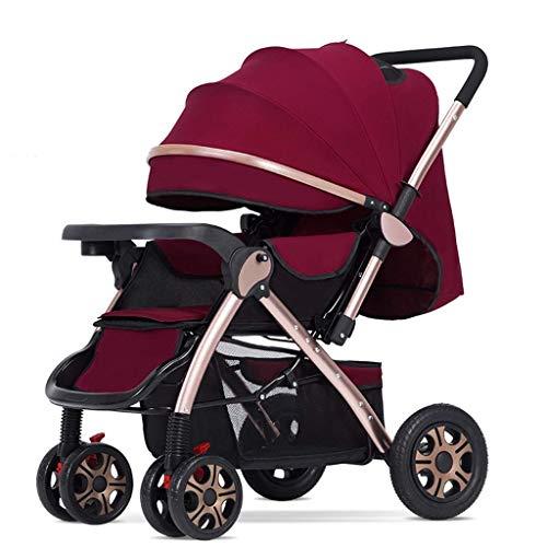 BGTRRYHY Kann sitzen, leicht zusammenklappbar, für Kinder, Baby, Kind, einfacher Zwei-Wege-Baby-Kinderwagen, hohe...