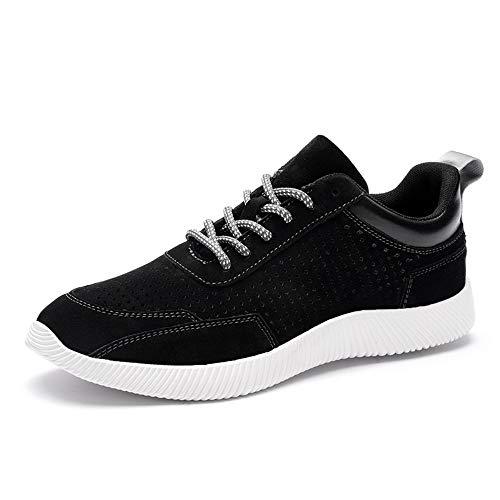 Zapatos casuales Zapatillas de deporte para hombres, zapatillas de moda de cuero de malla de encaje, zapatos de cuero con punta redonda y livianos transpirables (Color : Black, Size : 38 EU)
