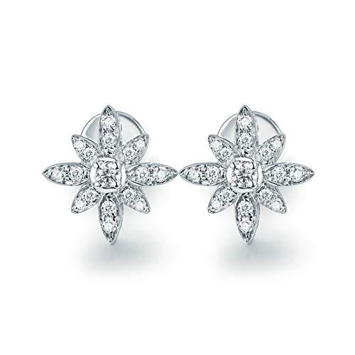 ANAZOZ Pendientes Mujer Plata Diamante,Pendientes de Mujer Oro Blanco 18 Kilates Plata Flor Diamante Blanco 0.14ct