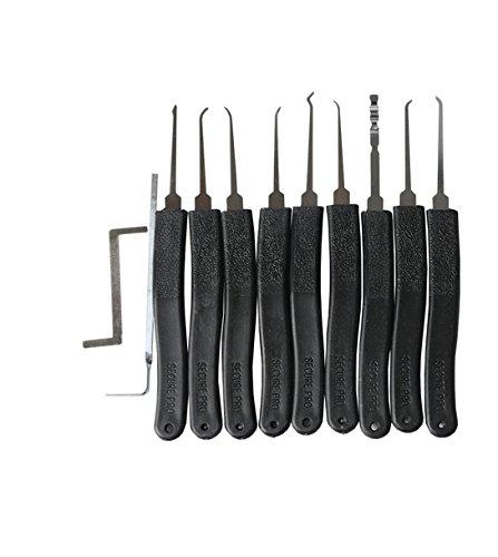 10 Teiliges Geocaching Lockpicking Set + Lockpicking Anleitung/Handbuch deutsch incl. Spanner - Geocaching Dietrich Set - Dietriche lock picking