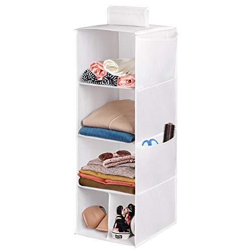 4 Shelves Hanging Closet Organizer, Cloth Hanging Shelves for Closet Organizer with Hook and Loops ,Polyester Canvas,Collapsible Storage Shelves for Clothes, Shoes and Accessories (4 Shelf - White)