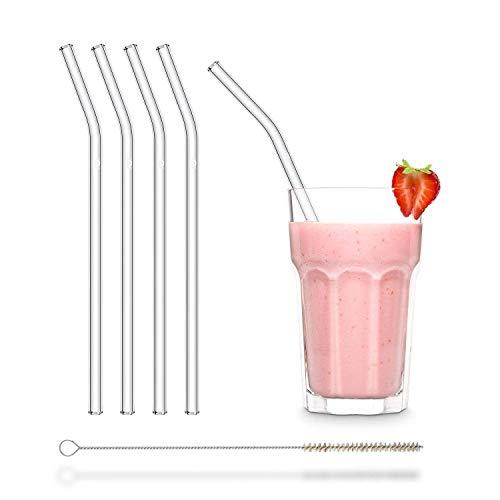 HALM Cannuccia - Cannucce in vetro riutilizzabili - Set di 4 cannucce curve da 23cm + 1 spazzola per la pulizia - Senza BPA - Lavabili in lavastoviglie - Ecosostenibili - Per cocktail e frullati