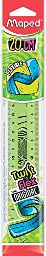 Maped Twist'n Flex - Regla plana flexible, divertida e irrompible, 20 cm, doble graduación, color verde