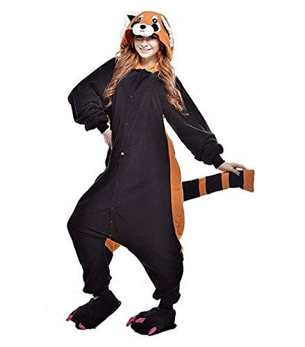 Erwachsene Waschbär Pyjama Kostüm Unisex Cosplay Overall Tier Pyjama Halloween Schlafanzug Pyjama
